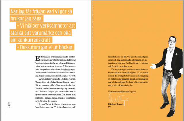 Uppslag broschy Forlaget som utmanar