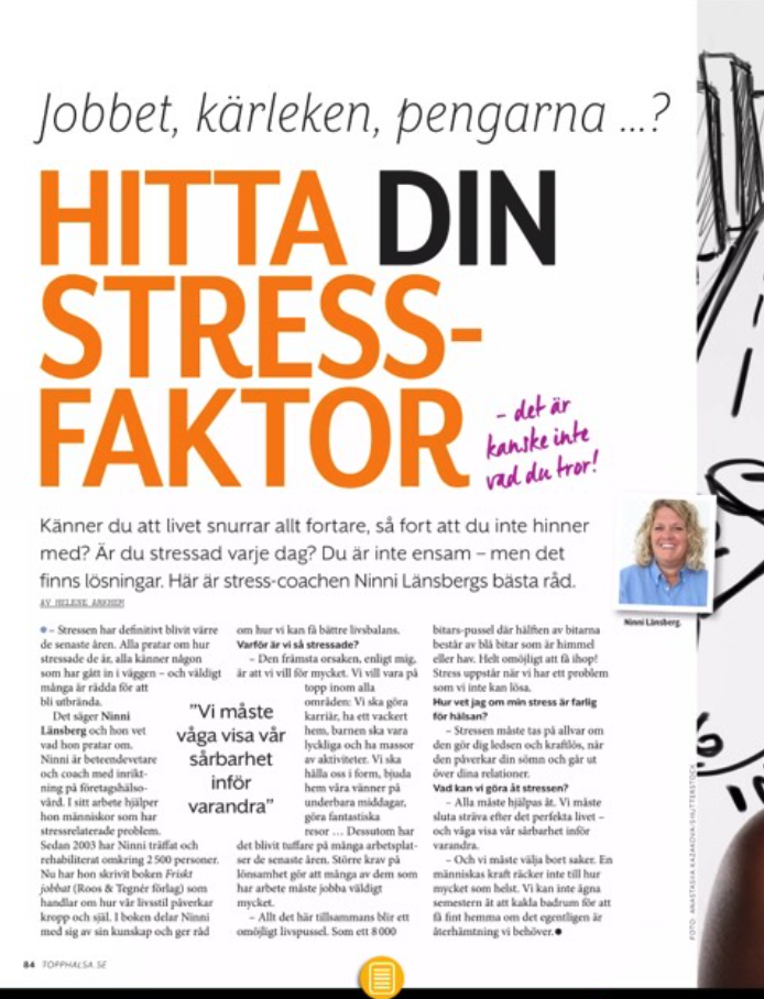 Tidningen Topphälsa - artikel Ninni Länsberg