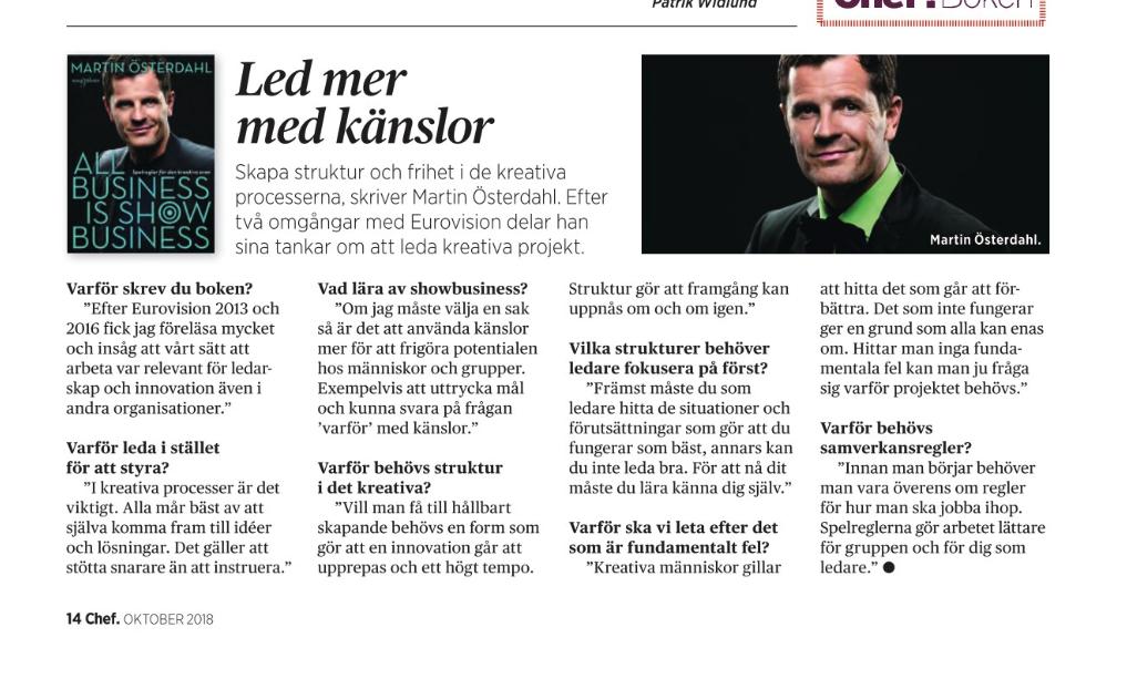 Tidningen Chef -Martin Österdahl